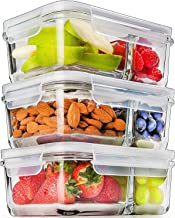 Prep Naturals Glass Meal Prep Containers Glass 2 Compartment (3 Pack) – Glass Food..