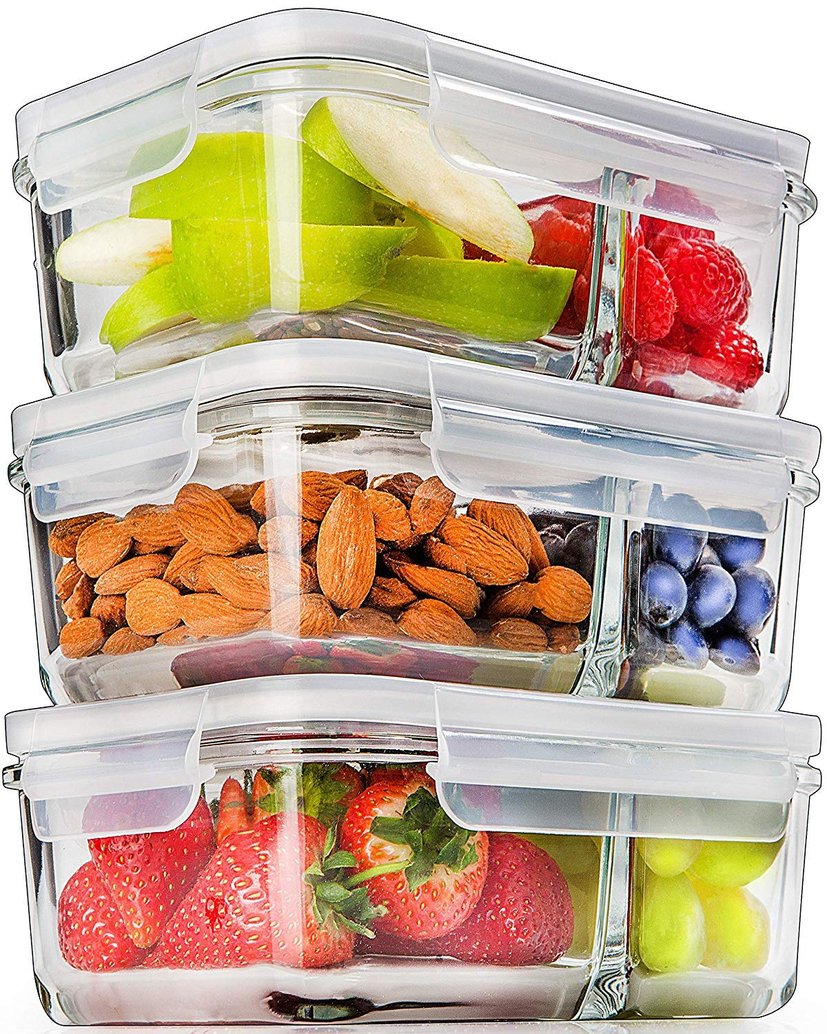 Glass Meal Prep Containers Compartment