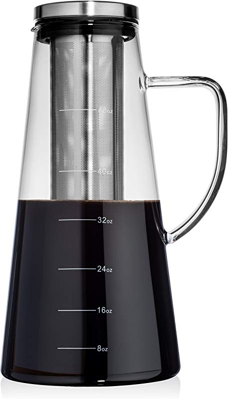 Large Cold Brew Coffee Maker 1 5L 48oz Premium Quality Glass Carafe With Airtight Stainless Steel Lid Brews Hot Or Iced Coffee Tea Removable Fine Mesh Filter Fruit Infuser Bonus Cleaning Sponge