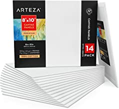 Arteza Canvas Panels 8x10 Inch, White Blank Pack of 14, 100% Cotton, 12.3 oz Primed, 7 oz Unprimed, Acid-Free, for Acrylic...