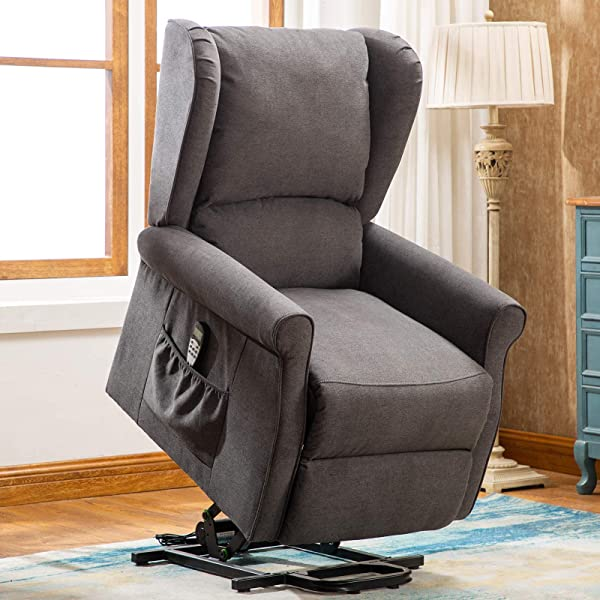 ANJ Power Lift Recliner Chair With Massage Living Room Chair Smoky Gray