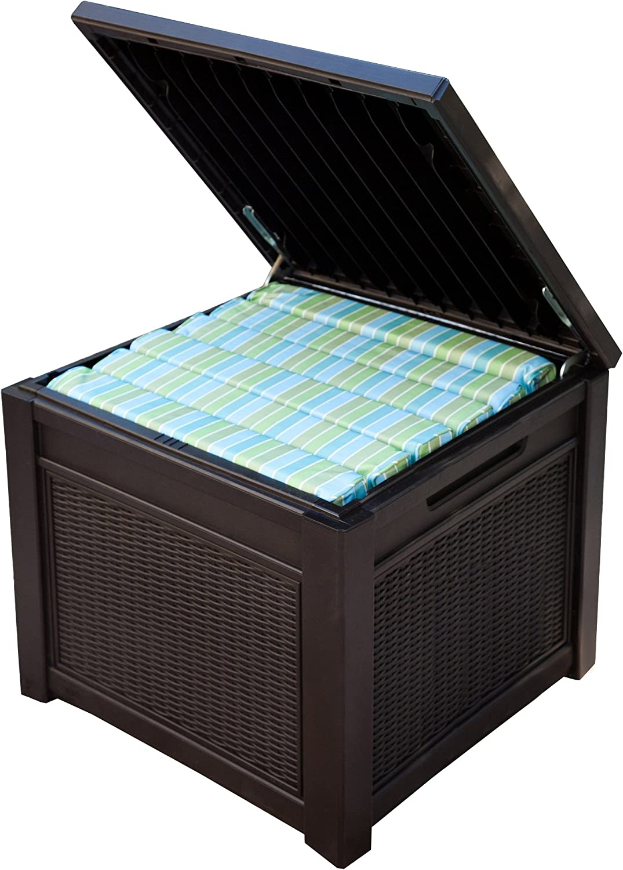 Keter Kissenbox und Beistelltisch Cube Rattan 208L Braun