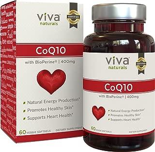 Viva Naturals CoQ10 Supplement with BioPerine (400mg) – 60 Vegetarian Softgel