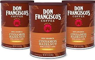 Don Francisco's Cinnamon Hazelnut Flavored Ground Coffee, 100% Arabica (3 x 12 oz Cans)