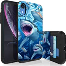 PimpCase Compatible with iPhone XR Cases,PimpCase Slim Wallet + Dual Layer Hidden Card Holder Phone Cover, PimpCase Compatible with Apple iPhone XR Case, Sharks Swim