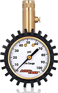 Accu-Gage Tire Pressure Gauge with Protective Rubber Guard, Straight Chuck, 100psi