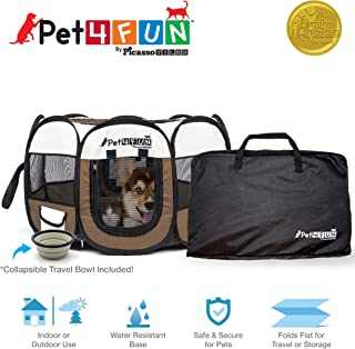 PicassoTiles PET4FUN Portable Pet Puppy Dog Cat Animal Playpen Yard Crates Kennel w/Premium 600D Oxford Cloth, Tool-Free Setup, Carry Bag, Removable Security Mesh Cover/Shade, 2 Storage Pockets