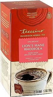 Teeccino Mushroom Adaptogen Herbal Tea – Lion's Mane Rhodiola Rose – Support Your Health with Mushrooms & Adaptogenic Herb...