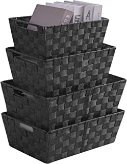 VK Living Woven Storage Containers Strap Storage Baskets Bins Nylon Closet Organizer Box for Organizing 4 pack (Black)