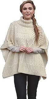 Carraig Donn 100% Irish Merino Wool Natural Patchwork Aran Cowl Cape.
