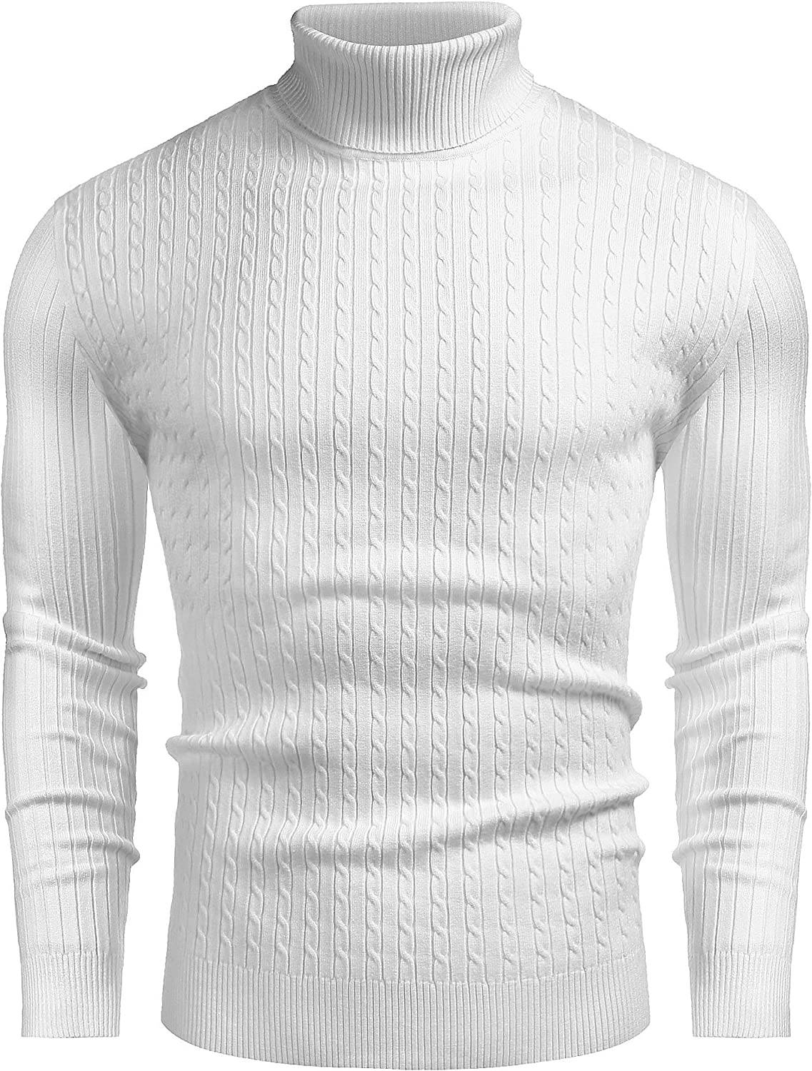 COOFANDY Men's Slim Fit Turtleneck Sweater Casual Twist Patterned Pullover Knitted Sweater