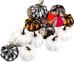 ELCOHO 16 Pieces Small Fabric Lifelike Pumpkins Mini Artificial Pumpkins Home Decoration Set Fall Harvest Pumpkin Thanksgi...