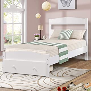Wood Platform Bed Frame with Headboard and Storage , White Wooden Bed Frame, Twin, 78