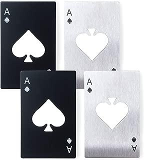 Pocker Bottle Opener Ace of Spades Beer Cap Opener (4 Pack,Black & Silver)