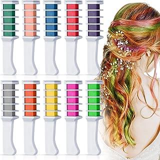 10 kleuren haarkrijt voor meisjes kinderen, Kalolary tijdelijke heldere haarkrijt metallic glitter haarkleurverf voor meis...