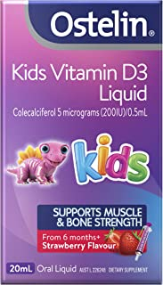 Ostelin Kids Vitamin D3 Liquid - Assists Healthy Bone and Teeth Development - Supports Muscle Strength, 20ml