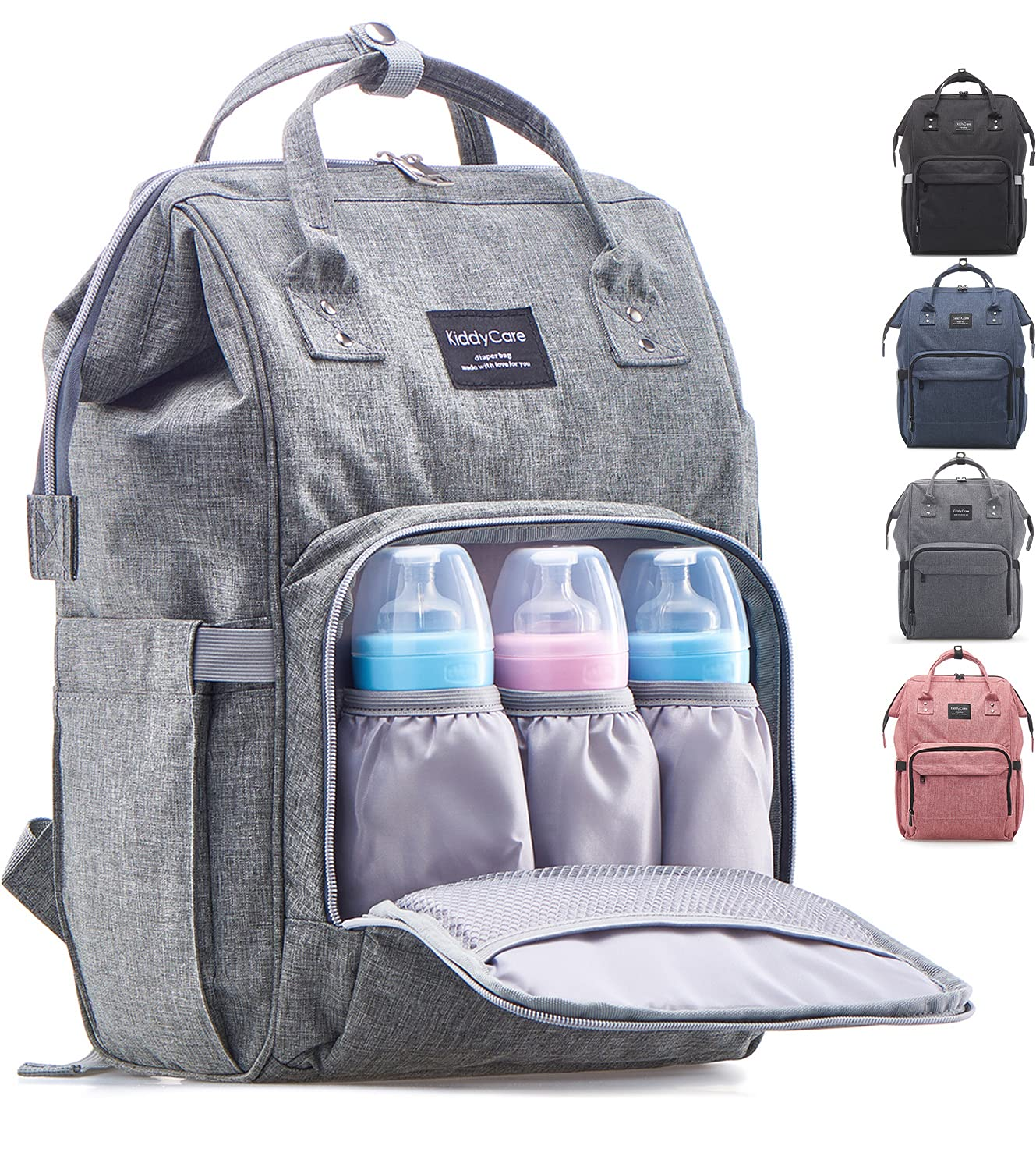 KiddyCare Diaper Bag Backpack – Multi-Function Baby Bag, Maternity Nappy Bags for Travel, Large Capacity, Waterproof, Durable & Stylish for Woman and Men, Gray