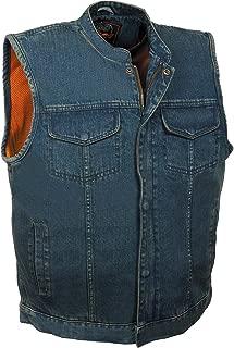Milwaukee Leather Men's Concealed Snap Denim Club Style Vest - Mdm3000-Black