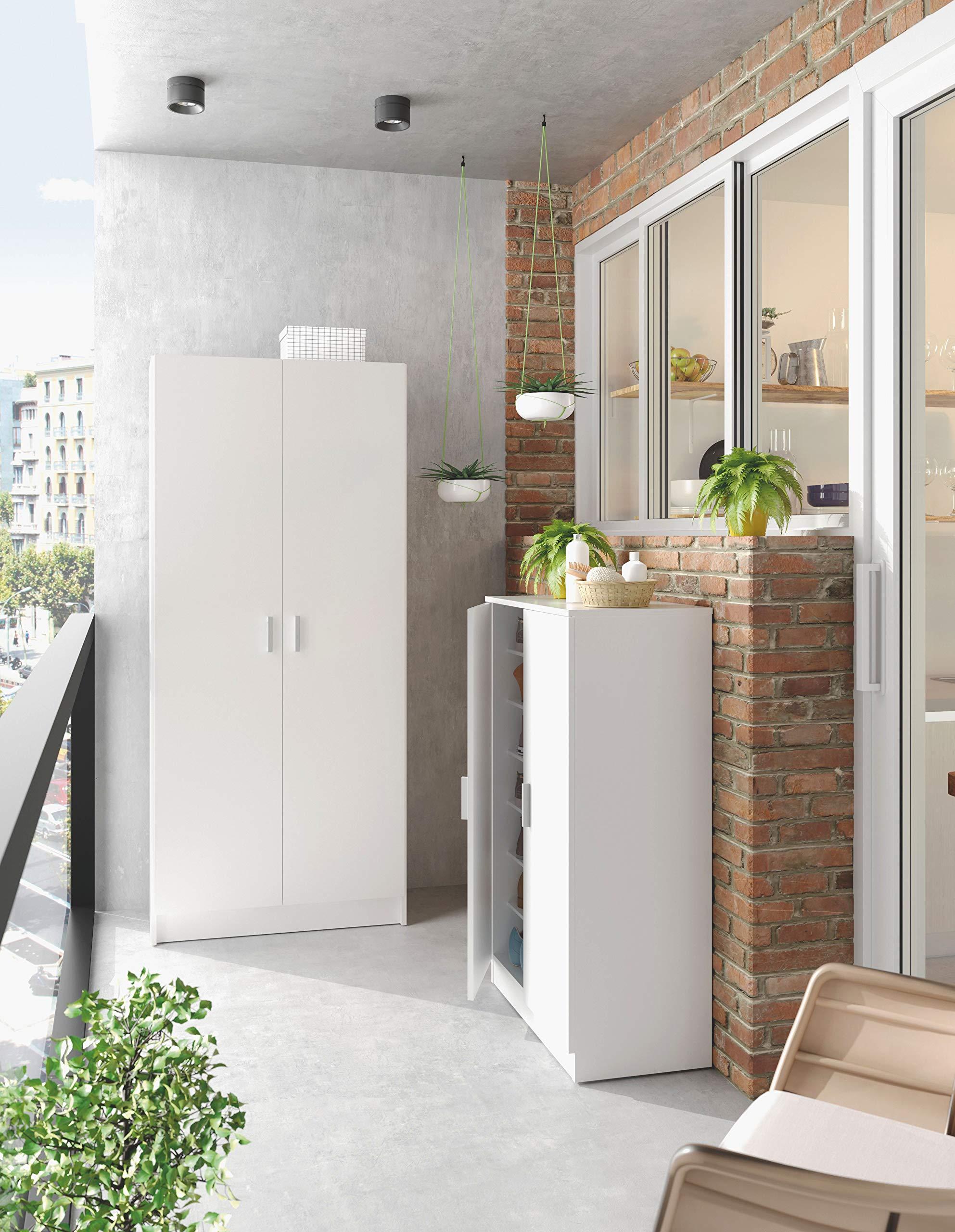 Habitdesign 007142O - Armario Multiusos escobero de 2 Puertas, Color Blanco Mate, Medidas: 73 cm (Largo) x180 cm (Alto) x 37 cm (Fondo): Amazon.es: Hogar