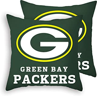 MT-Sports Football Super Bowl Throw Pillow Covers Pillow Cases Standard Size Decorative Pillowcase Protecter with Zipper 18x18 Inches Without Insert Set of 2 (Green Bay Packers)