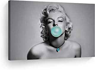 Smile Art Design Marilyn Monroe Teal Bubble Gum Black and White Canvas Print Blue Diamond Necklace Pop Art Horizontal Iconic Wall Art Marilyn Monroe Wall Decor Ready to Hang 36x24