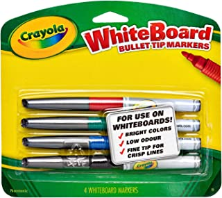 Crayola, 4 Whiteboard Markers, Bullet Tip, Boardroom, Classroom, Easel, Easy Erase, Dry Erase
