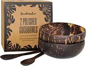 Coconut Bowls And Wooden Spoon Sets: 2 Vegan Organic Serving Bowls, Great for Smoothie Bowls, Buddha Bowls and Salads (2, ...
