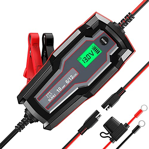 2021 SUHU Car Battery Charger, 10-Amp Fully-Automatic Smart Charger 6V/12V Quick Battery Charger Battery Maintainer Trickle Charger & Battery Desulfator for Car Motorcycle Lawn Mower popular Boat Lead Acid online sale Battery online