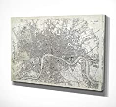 WEXFORD HOME Antique London Map Dusty White Gallery Wrapped Canvas Wall Art, 16x32,