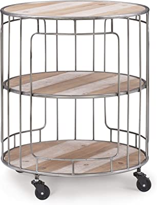 Linon Home Decor Linon Tinsley Three Wood Rolling Tiered Metal Cart