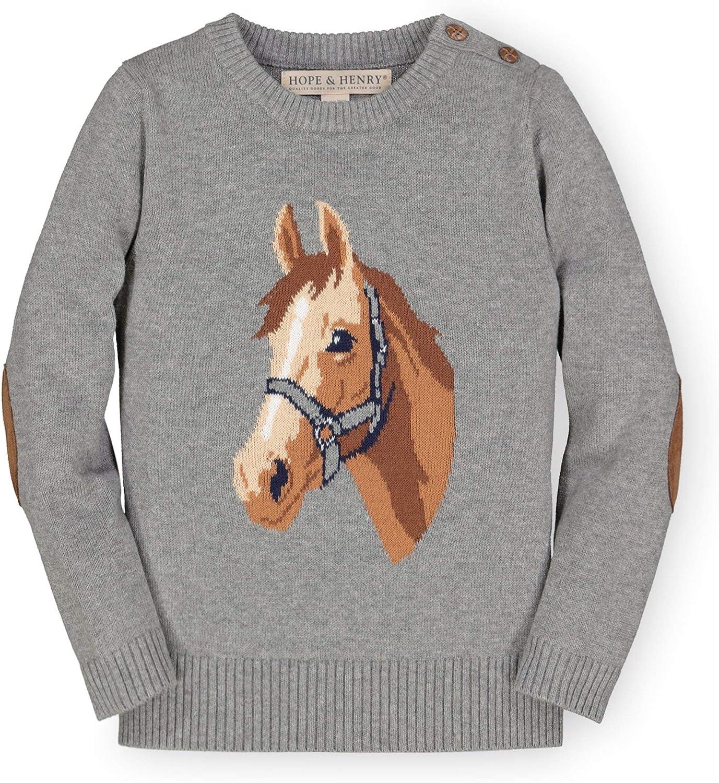 Hope & Henry Girls' Intarsia Horse Sweater