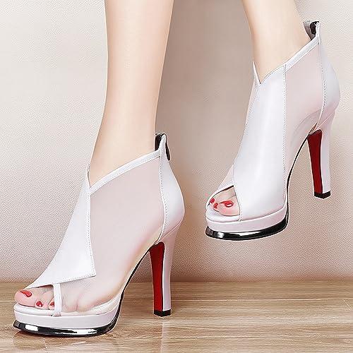 YTTY Fine avec des Chaussures à Talons Hauts à La Bouche Beige 37