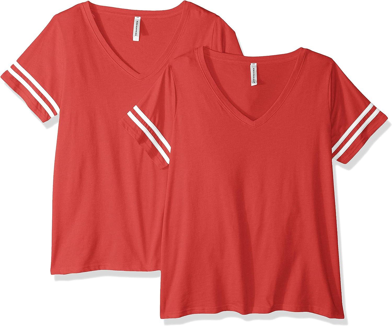 AquaGuard Women's Plus Size Curvy Football Premium Jersey T-Shirt-2 Pack