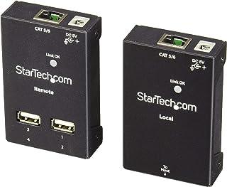 StarTech.com 4-Port USB 2.0 Extender - 165ft (50m) USB Over Cat5/Cat6 Extender - Compact USB 2.0 Over Ethernet Extender (USB2004EXTV),Black