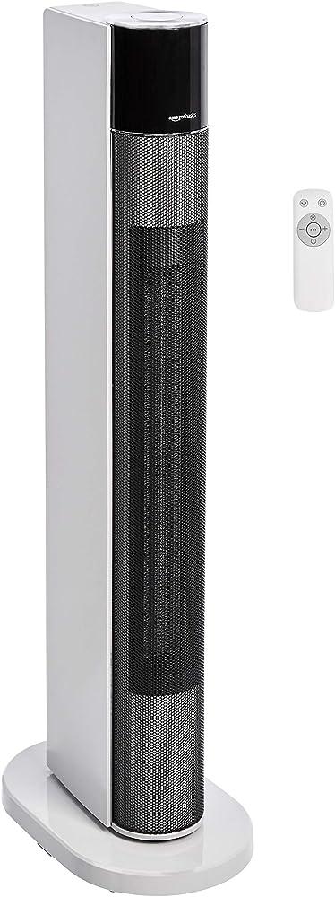 amazonbasics - stufetta oscillante a torre con timer e telecomando 2200 w nth22-18arb