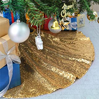 B-COOL 24inch Tree Skirts for Christmas Sequin Cute Floor Mat Carpet for Christmas Tree Holiday Decorations Gold Tree Skirts