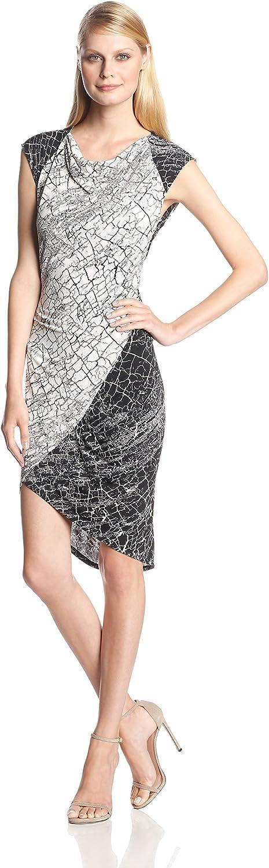BCBGMAXAZRIA Womens Tiffanie PrintBlocked Dress with Side Shirring Dress