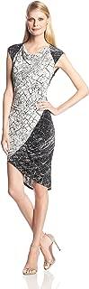 BCBGMAXAZRIA Women's Tiffanie Print-Blocked Dress with Side Shirring