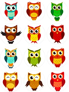Royal Green Colored Owl Sticker Perfect for prizes, Rewards, School and Games. Great for Kids and Teachers to use in The Classroom - 1.5 inch Diameter (37mm) 5 Sheets - 60 Pack