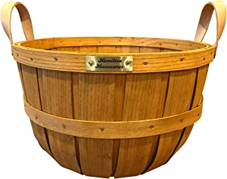 Hamilton Housewares Wooden Half Bushel Basket for Gardening – Sturdy Hardwood Construction with Leather Handles – 100 Percent Made in USA