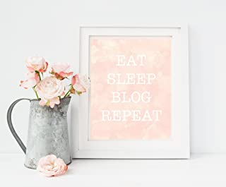 Blogger Gifts, Gift for Blogger, Gift for Her, Home Office Decor, Eat Sleep Blog Repeat, Print Only Unframed