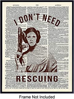 Princess Leia Art Print - Funny Wall Art Poster - Modern Chic Home Decor for Bedroom, Living Room, Game Room, Office, Girls, Teens, Kids Room - Gift for Star Wars Fans, Feminists - 8X10 Photo Unframed