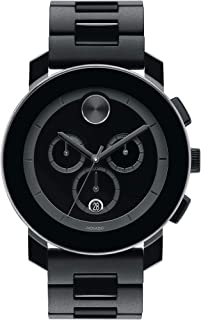 Movado Men's BOLD TR90 Chronograph Watch with a Sunray Dot Black Dial, Black/Grey (Model 3600048)