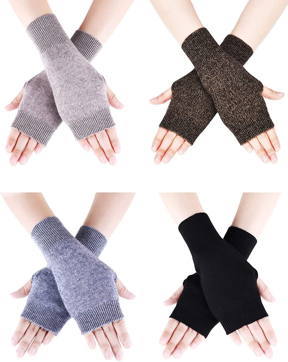 Tatuo 4 Pairs Cashmere Feel Fingerless Gloves with Thumb Hole Warm Gloves for Women and Men (Color Set 9)