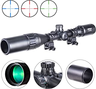 Pinty 3-9X40 Rifle Scope AO Red Green Blue Illuminated Mil Dot with Flip-Open Covers, Sunshade Tube