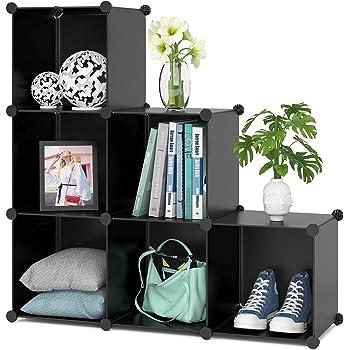 Homfa Cube Storage Organizer, 6 Cubes DIY Plastic Modular Closet Cabinet Storage Organizer, Living Room Office Bookcases Shelves for Books, Cloths, Toys, Shoes, Arts, Black