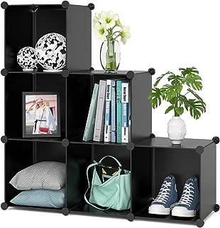 Homfa Cube Storage Organizer, 6 Cubes Shoe Rack, DIY Plastic Modular Closet Cabinet Storage Organizer, Living Room Office Bookcases Shelves for Books, Cloths, Toys, Shoes, Arts, Black