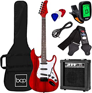 Best Choice Products 39in Full Size Beginner Electric Guitar Starter Kit w/Case, Strap, 10W Amp, Strings, Pick, Tremolo Ba...