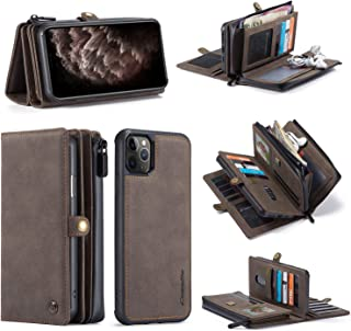 for iPhone 12 Pro/Max Wallet Case, Multi-Functional PU Leather Zip Wristlets Clutch Detachable Magnetic 17 Card Slots Cash...