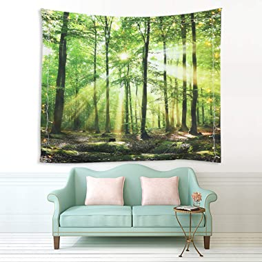 Sevendec Forest Tapestry Wall Hanging Trees Trunk Nature Green Sunlight Wall Tapestry for Livingroom Bedroom Dorm Home Decor